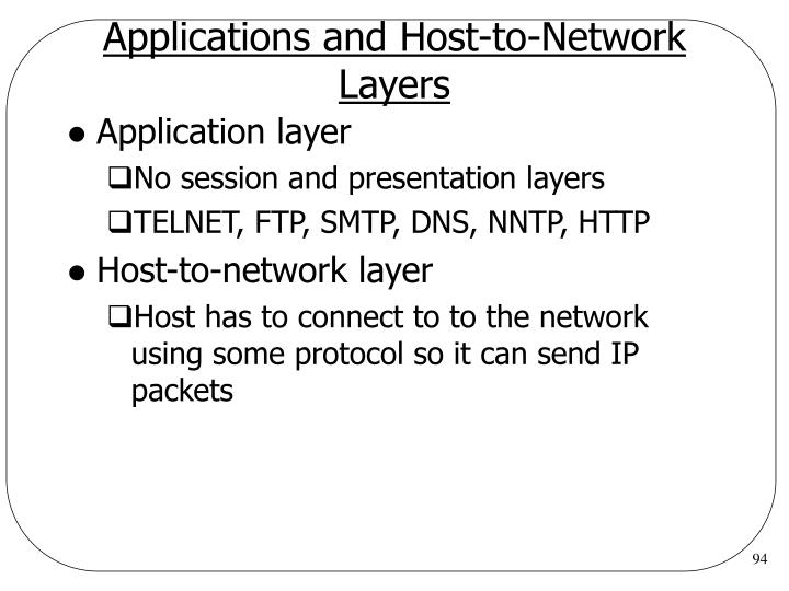 Applications and Host-to-Network Layers