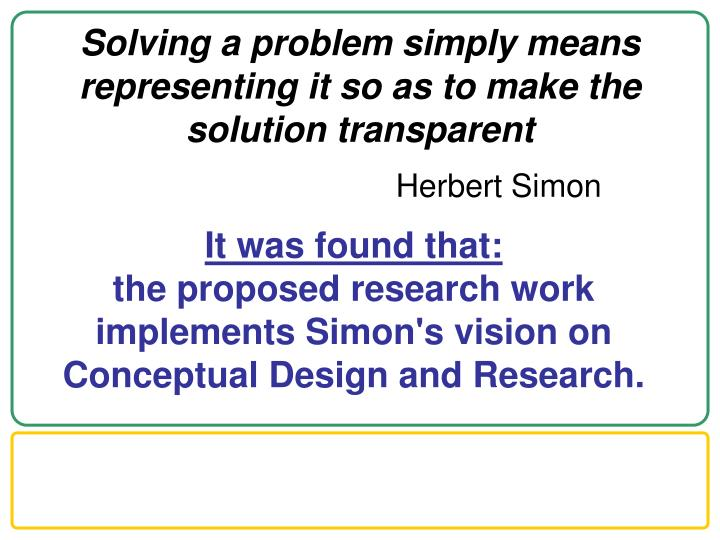 Solving a problem simply means representing it so as to make the solution transparent1