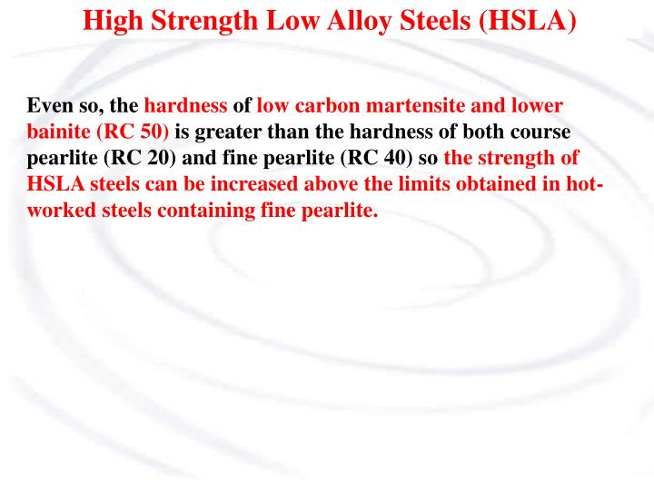 High strength low alloy steels hsla1
