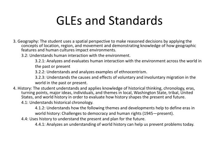 gles and standards