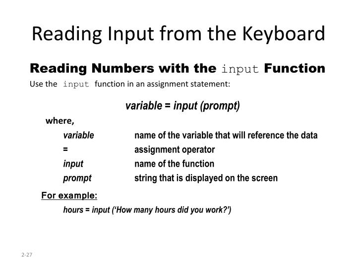Reading Input from the Keyboard