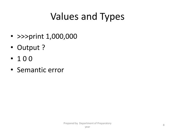 Values and Types
