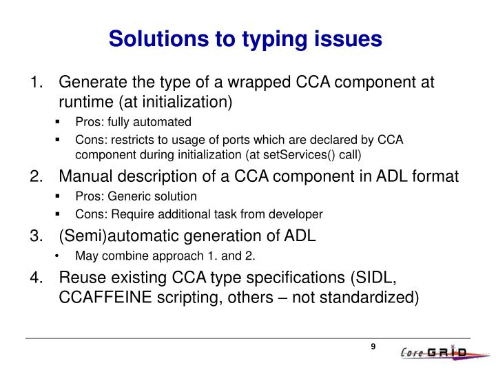 Solutions to typing issues