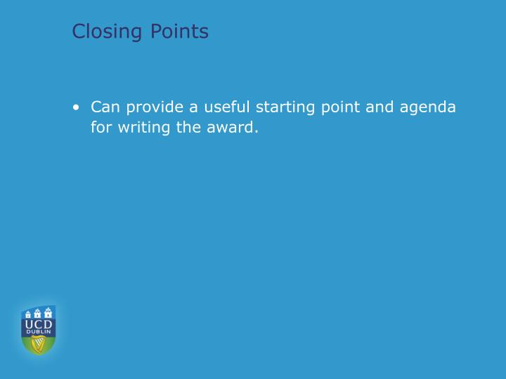 Closing Points