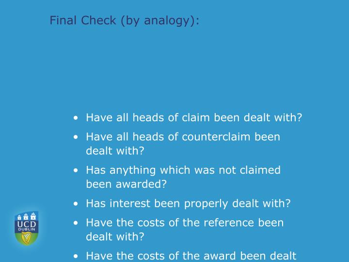 Final Check (by analogy):