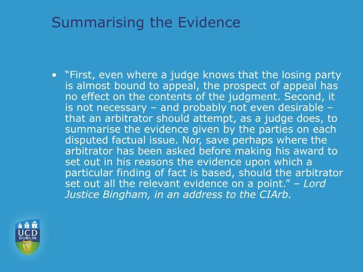 Summarising the Evidence
