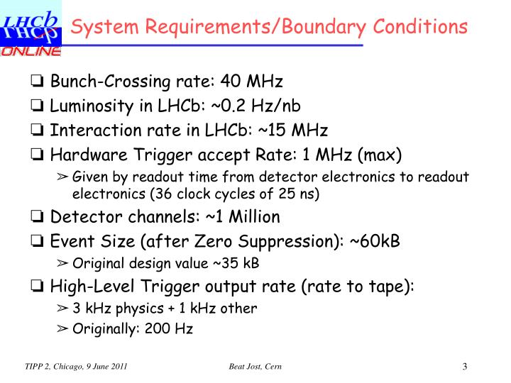 System requirements boundary conditions