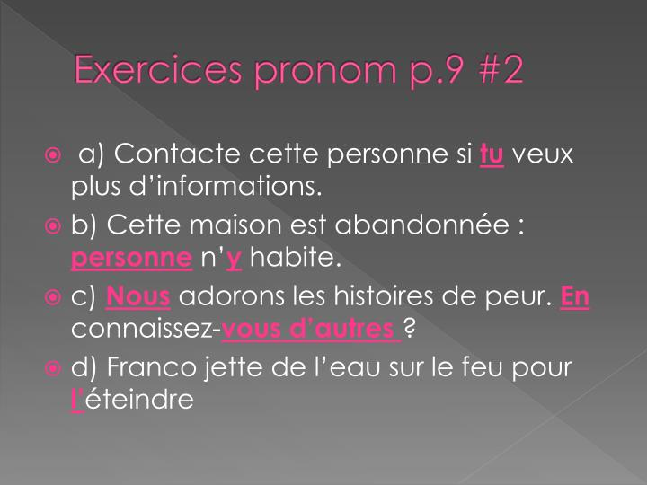 Exercices pronom p.9 #2
