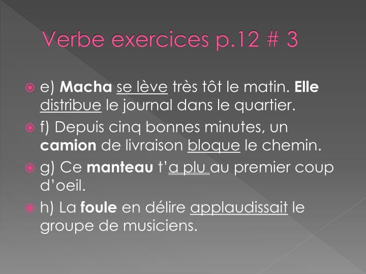 Verbe exercices p.12 # 3