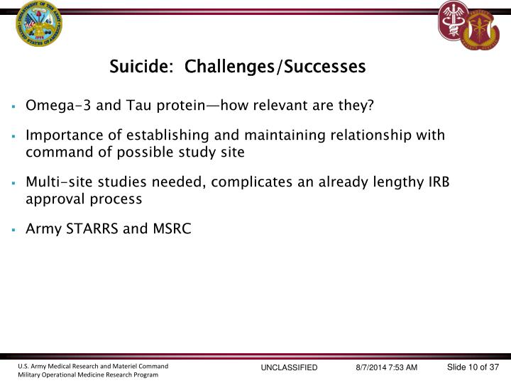 Suicide:  Challenges/Successes
