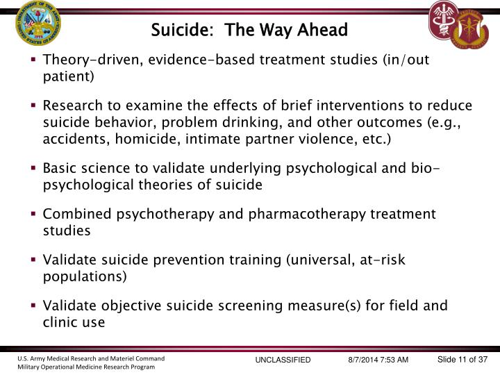 Suicide:  The Way Ahead