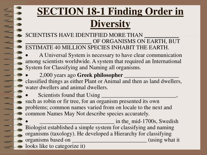 SECTION 18-1 Finding Order in Diversity