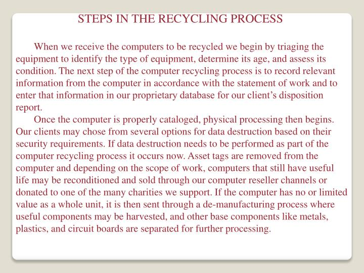 STEPS IN THE RECYCLING PROCESS