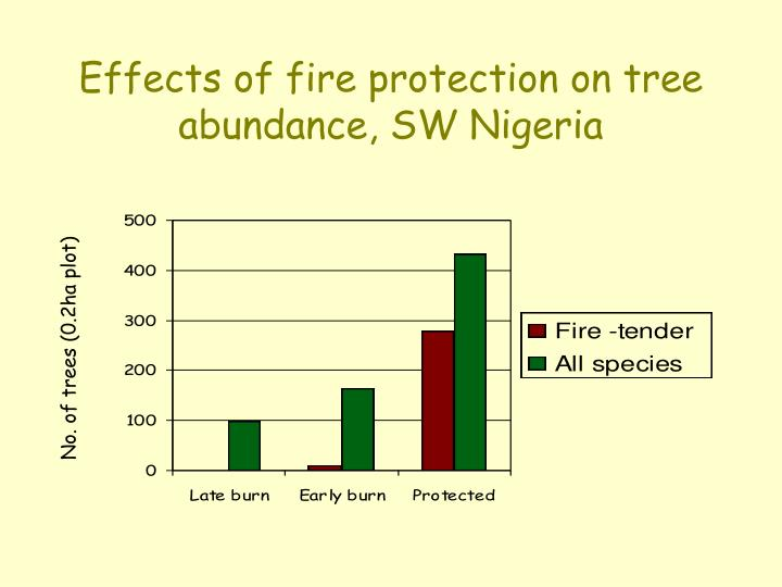 Effects of fire protection on tree abundance, SW Nigeria