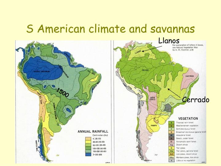 S American climate and savannas