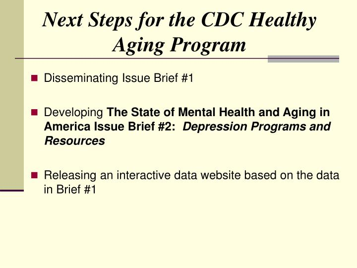 Next Steps for the CDC Healthy Aging Program