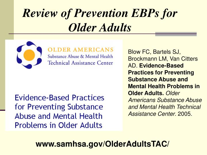 Review of Prevention EBPs for Older Adults