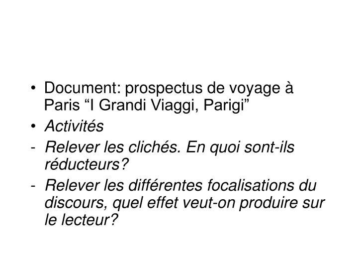 """Document: prospectus de voyage à Paris """"I Grandi Viaggi, Parigi"""""""
