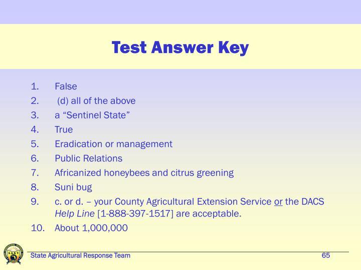 Test Answer Key