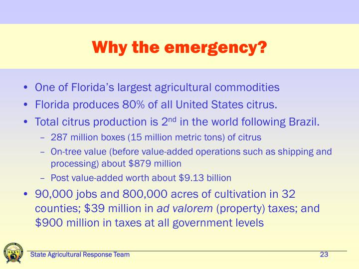 Why the emergency?
