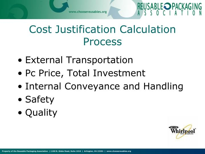Cost Justification Calculation Process
