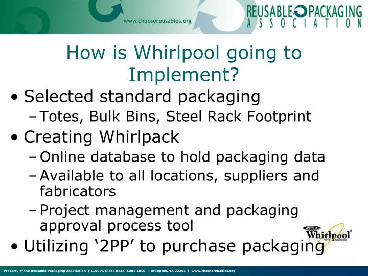 How is Whirlpool going to Implement?