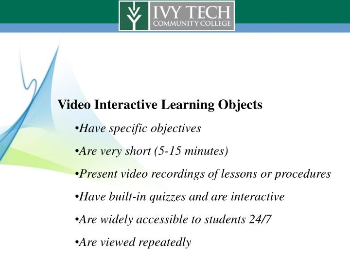 Video Interactive Learning Objects