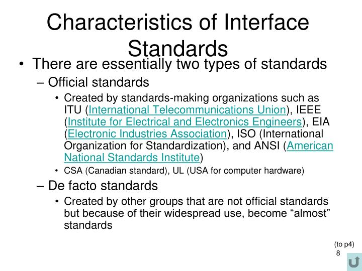 Characteristics of Interface Standards