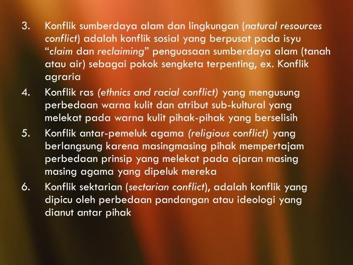 Konflik sumberdaya alam dan lingkungan (