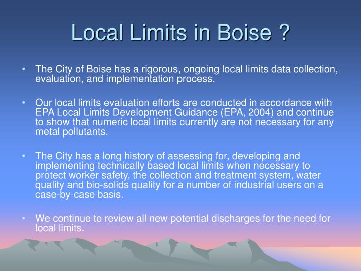 Local limits in boise
