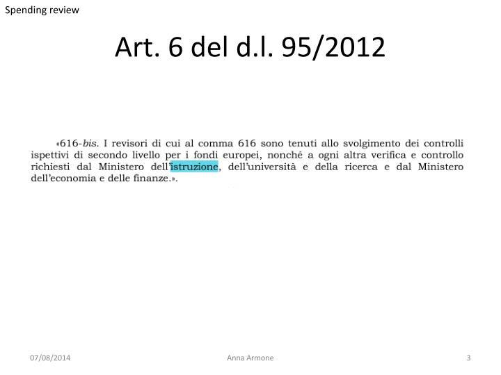 Art 6 del d l 95 2012