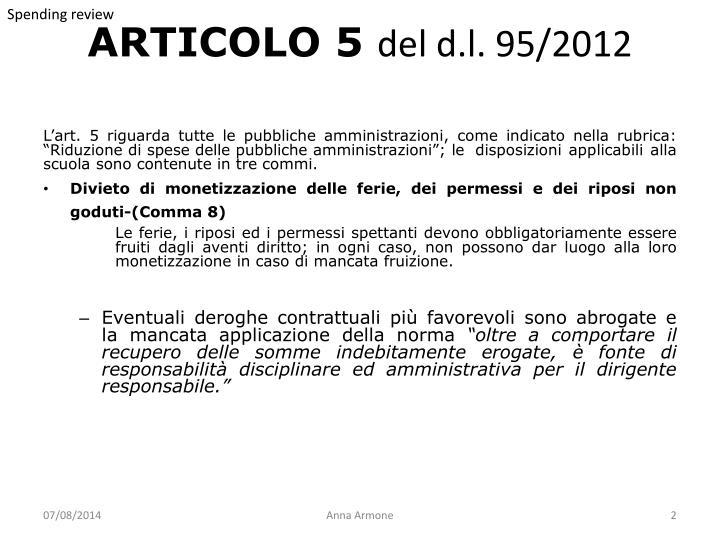 Articolo 5 del d l 95 2012