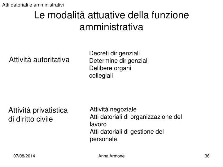 Atti datoriali e amministrativi