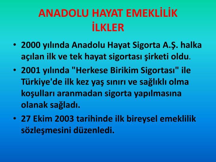 ANADOLU HAYAT EMEKLİLİK
