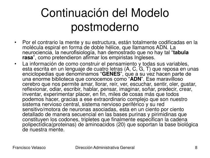 Continuación del Modelo postmoderno