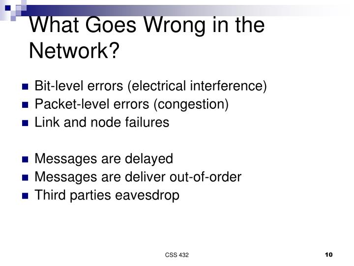 What Goes Wrong in the Network?
