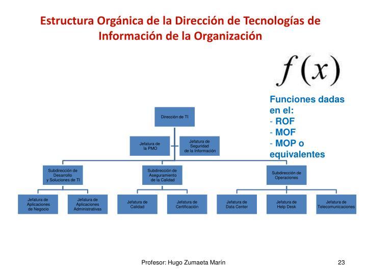 Estructura Orgánica de la Dirección de Tecnologías de Información de la Organización