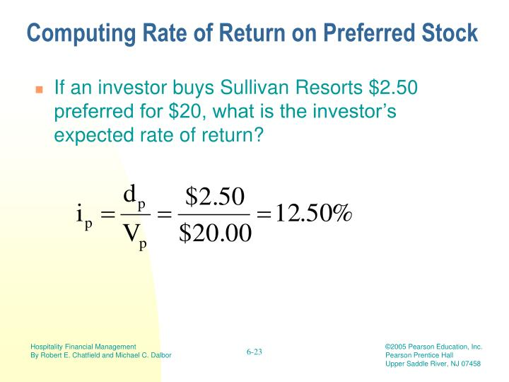 Computing Rate of Return on Preferred Stock