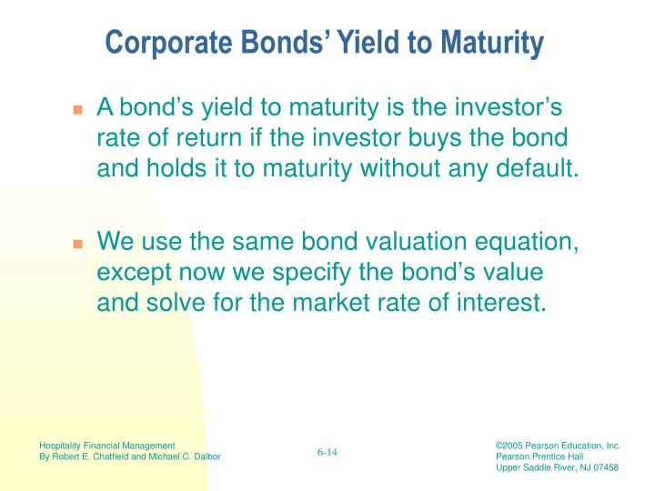 Corporate Bonds' Yield to Maturity