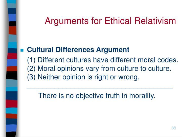 Arguments for Ethical Relativism