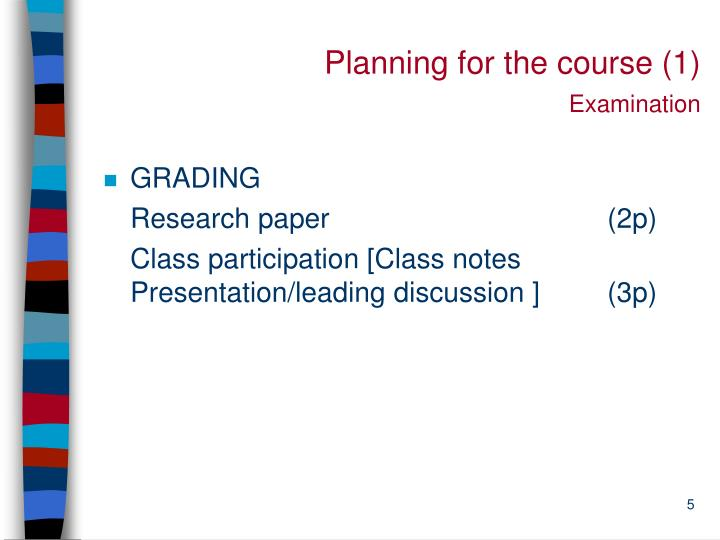 Planning for the course (1)