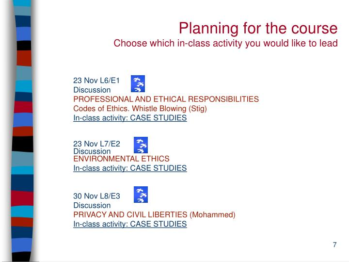 Planning for the course