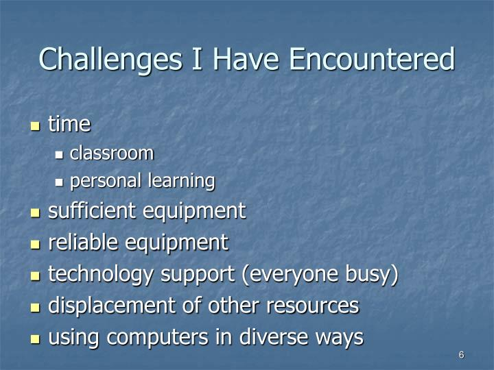 Challenges I Have Encountered