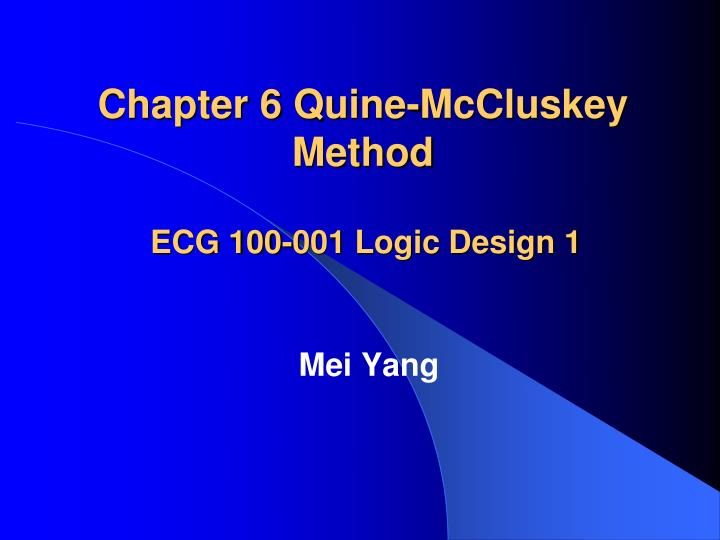 Chapter 6 quine mccluskey method