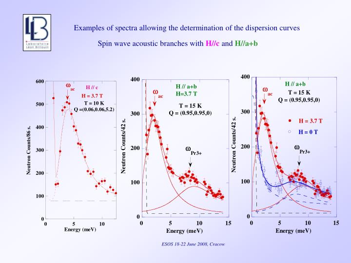 Examples of spectra allowing the determination of the dispersion curves