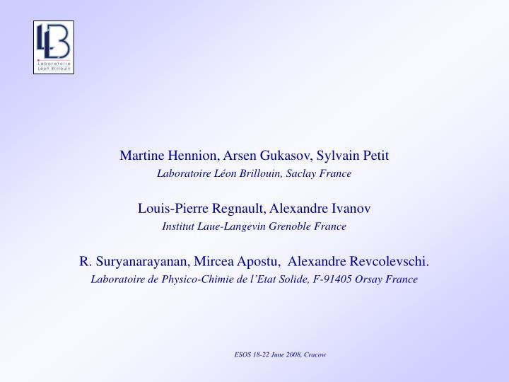 Martine Hennion, Arsen Gukasov, Sylvain Petit