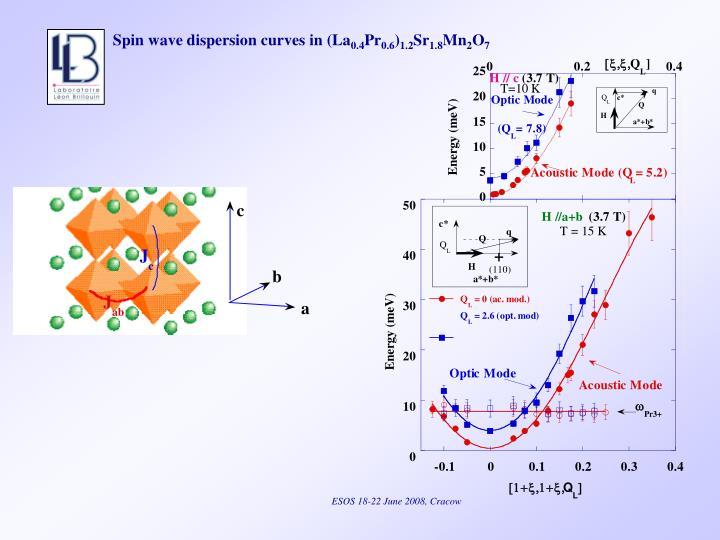 Spin wave dispersion curves in (La