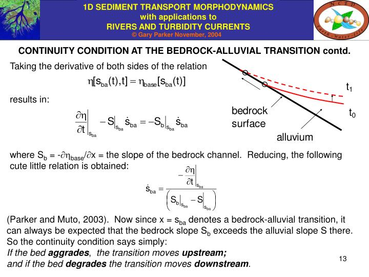CONTINUITY CONDITION AT THE BEDROCK-ALLUVIAL TRANSITION contd.