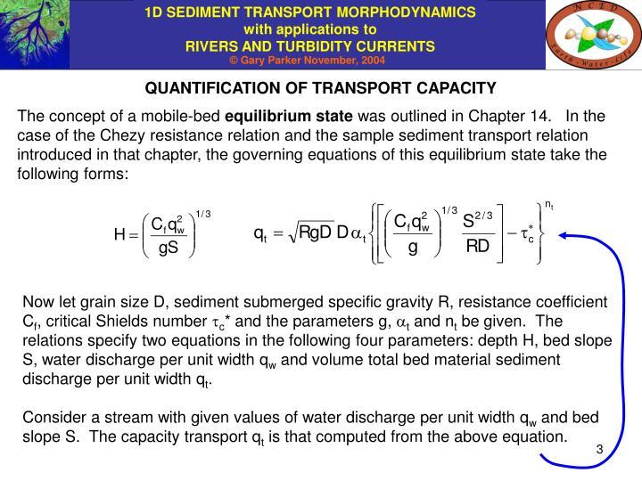 QUANTIFICATION OF TRANSPORT CAPACITY