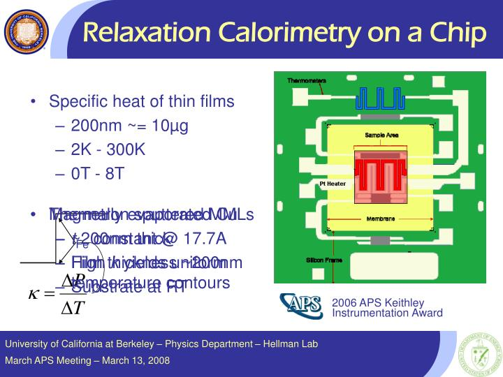Relaxation Calorimetry on a Chip